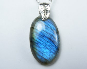 Blue Labradorite and Sterling Silver Necklace, Luminous Blue Labradorite and Sterling Silver Pendant, Glowing Sky Blue and Cobalt Blue Flash