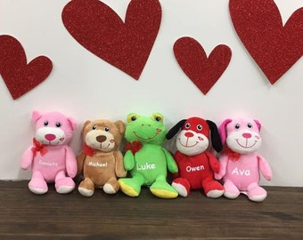 Personalized Plush Puppy Dog Bear Frog Animal Red Pink Kiss Valentine