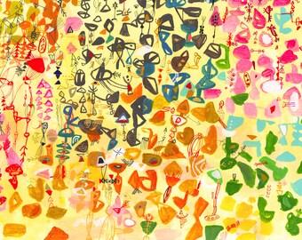 Wisteria Garden 2 - gold print yellow print flower print large scale print garden abstract flower print home decor kids room wall art