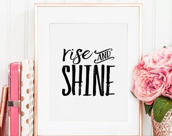 RISE AND SHINE, Bedroom Decor,Rise And Shine Print,Bedroom Wall Decor,Motivational Quote,Bedroom Set,Bedroom Art,Rise Up Sign,Rise Against