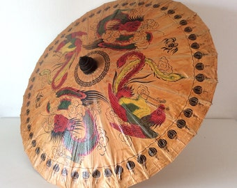 Vintage Japanese Rice Paper & Bamboo Parasol, Japanese Decorative Umbrella, Hand Crafted, Home Decor.
