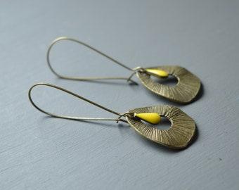 Earrings long earrings drop glazed yellow and bronze