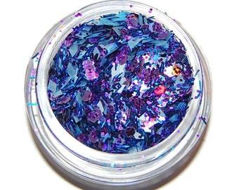 Blue and Purple, Glitter Mix, Blue Glitter Mix, Solvent Resistant, Glitter Mix, Raw Glitter Mix, Nail Polish, Nail Art, Purple Glitter Mix