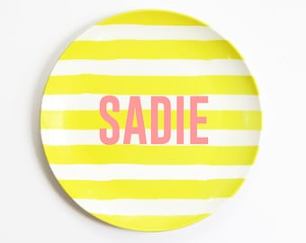 Kids Melamine Plate Personalized Name Plate for Girls Custom Birthday Plates Personalized Baby Gift Kids Dinnerware Outdoor Plates Tableware