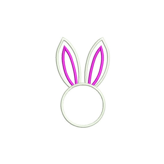 Bunny Ears Embroidery Design. Monogram Frame Applique. Bunny ...