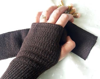 "11"" Coffee Fingerless Knitted Arm Sleeves, Arm Warmers, Arm Gloves, Arm Covers for Girls & Women"