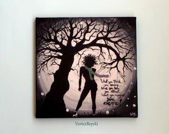 Daily Reminder Painting, Affirmation Positive Tool, Acrylic Abstract Art on Cavas 30x30 cm/Meditation Aids/Self Development/Healing, Glitter