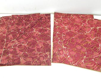 Antique Marbled End Papers For Crafts, Burgundy