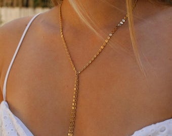 coin chain y necklace, drop necklace,layered necklace, Gold Disc Lariat, Disc Lariat Y Necklace, long necklace, chain drop necklace