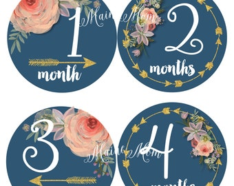 Tribal Baby Girl Monthly Stickers, Baby Month Stickers, Baby Milestone Stickers, Arrows, Navy,  Watercolor Floral Bodysuit