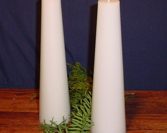 Pair (2) of white tapered cylinder candles, pillar