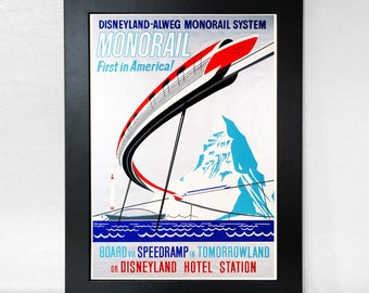 Disneyland Monorail Poster Vintage Unframed