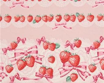 218542 pink-peach with strawberry fruit stripe oxford fabric by Kokka