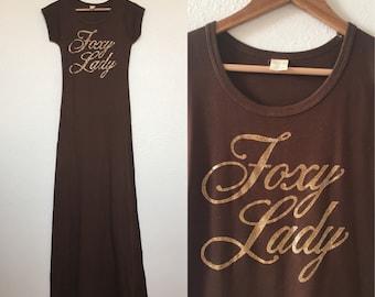 vintage 70's FOXY LADY brown maxi t-shirt dress - small