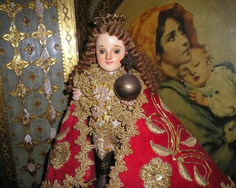 Sale Vintage Elaborate Religious Infant of Prague Wood Carved Santo Nino w/Glass Eyes,Vestment&Crown Folk Art Devotional Icon Figure