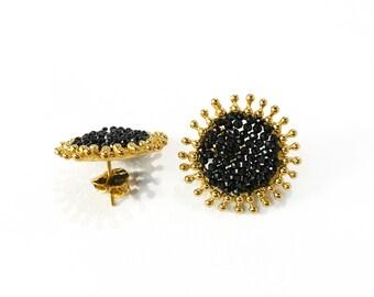 black spinel MIRROR MIRROR single earrings