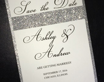 White and Silver Layered Personalized Save the Date Card with Silver Glitter Accent