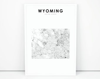 Wyoming Map Print, State Road Map Print, WY USA United States Map Art Poster, Nursery Room Wall Office Decor, Printable Map