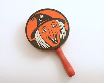 Vintage Halloween Decoration Metal Noisemaker Wood Handle Made in USA Party Favor