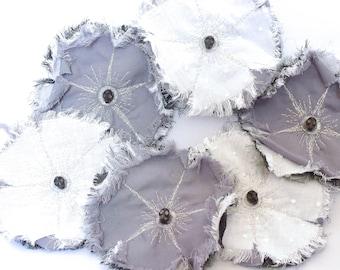 Vanity flower brooch, fabric brooch with skull, memento mori