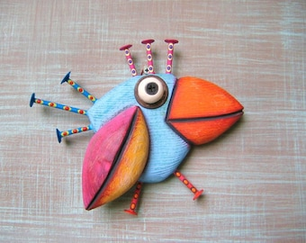 Little Blue Sparrow, Bird Wall Art, Original Found Object Wall Sculpture, Wood Carving, by Fig Jam Studio