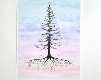 SKY TREE watercolor fine art print