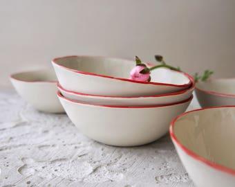Ceramic cereal bowl,smoothie bowl,small ceramic bowl,soup bowl,red bowl,dessert bowl,modern pottery,porcelain dish,stoneware dinnerware