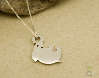 Tiny silver elephant pendant, Happy Elephant pendant Christmas gift Hand Made