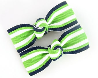 Lime Green and Navy Hair Clips - Taffy Striped 2 Inch Alligator Barrettes for Baby Toddler Girls Navy Blue White AP