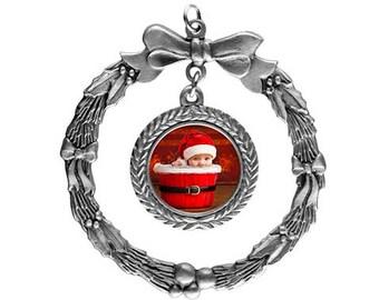 Pewter Wreath Ornament (Custom Photo)