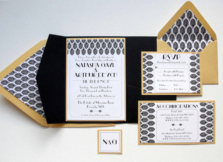 Pocket Fold Wedding Invitations Set / Deco Leaf