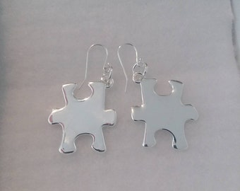 Autism Awareness Silver Plated puzzle piece Charm earrings on Sterling Silver hooks