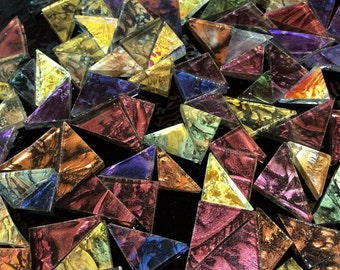 50 TRIANGLES - VAN GOGH Mixed Colors Stained Glass Mosaic Tiles B27