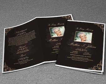 Printable Funeral Program Template - Elegant Funeral Program Template - Editable MS Word Template - INSTANT DOWNLOAD