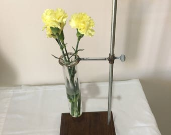 Wood Base Industrial Vase