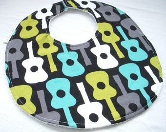 Baby Boy Bib - Groovy Guitars in Lagoon - terry cloth backing w snag free velcro closure