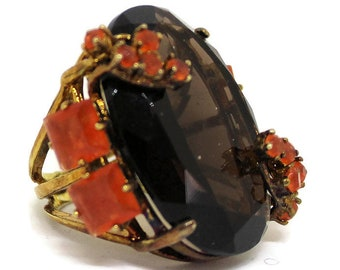 Gold Smoky Quartz And Carnelian Ring By Bounkit Statement Jewelry Designer Jewelry Gold Jewelry