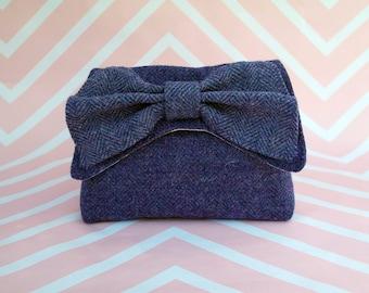 Audrey - Purple Herringbone Harris Tweed Clutch Bag - evening purse - bow - formal - handmade