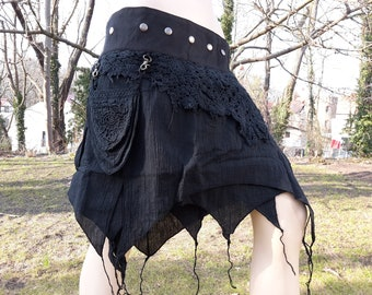 Wrap skirt nomad fairy psy goa gipsy pixie layer festival S M L XL XXL XXXL black brown