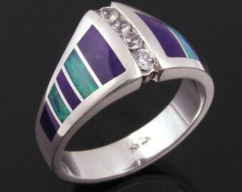Australian Opal Engagement Ring, Sugilite Wedding Ring, White Sapphire Engagement Ring, Opal and Sapphire Ring