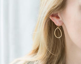 Gold Teardrop Hoop Earrings / 14K Gold Filled Ear Wires / Dainty Matte Gold Drop Earrings / Gold Dangle Earrings
