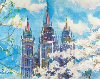 LDS Temple Painting, Salt Lake Temple Watercolor Painting, Utah Temple Painting, Mormon Temple Painting, LDS Temple Watercolor Print