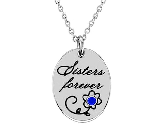 Sisters Necklace, Stainless Steel Sisters Forever Pendant With Personalized Birthstone Sister Gift for Sister Forever Necklace for Sister