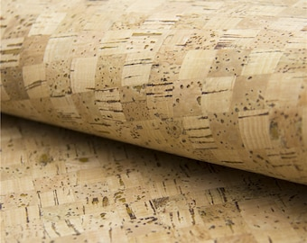Cork fabric 65*50 cm/25.5*19.6 inch grid cork leather Portuguese natural Material for handmade supply Kork corcho Cof-48