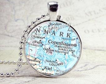 DENMARK COPENHAGEN Map Pendant, Denmark Necklace, Denmark Pendant, Vintage Denmark Map. Map Jewelry, Glass Photo Art Pendant Jewelry