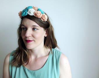 Peach flower crown, turquoise hairband, crochet flower crown, coral wedding headpiece, mint floral crown, aqua rose headband, festival crown