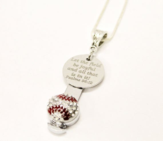 Let The Field Be Joyful Baseball Bible Verse Necklace, Psalms 96 12 Bible Verse Gift, Baseball Mom Gift for Her, Baseball Mom Team Gifts