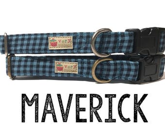 "Blue Black Gingham Handsome Boy Preppy Plaid Dog Collar - Organic Cotton Dog Collar - Antique Metal Hardware - ""Maverick"""