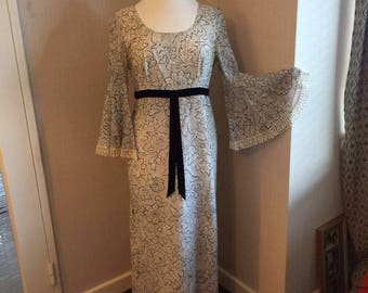 Monocrome 70s maxi dress with flared sleeve detail