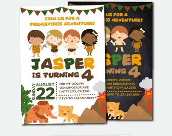 Caveman Invitation, Prehistoric Birthday Party, Adventure Invitation, Prehistoric Invitation, Digital Invitation